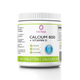 Calcium 600 mg + Vitamin D200 IE 90 Kauchips von Pur Prana